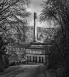 Black and white image of Longford Mills in Gloucestershire stock images