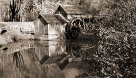 Black and white image of Mabry Mill on the Blue Ridge Parkway located in Southwestern Virginia Stock Photography