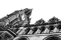 Manchester Town Hall 2. Black and white image Manchester`s Town Hall clock stock photography