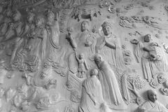 Black and white image of marble relief in daciensi temple Royalty Free Stock Photo