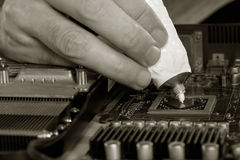 Black and white image men's fingers squeezed from a tube of thermal paste to the video processor. Stock Photos