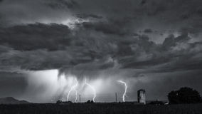 Black and white image of multiple lightning strikes Royalty Free Stock Images