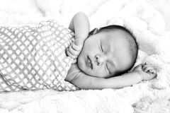 Black and white image of New Baby sleeping wrapped in  checked w. Rap on fur rug with arms out - caucasian and pacific islander ethnicity Royalty Free Stock Photos