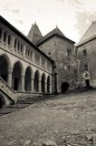 Black and white image of an old castle courtyard Royalty Free Stock Image