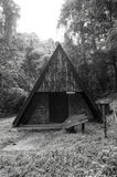 Black and white image of old hut in forest Stock Photos