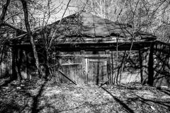 Black and white image of old wooden rustic building. Black and white image of the old wooden rustic building Stock Photo
