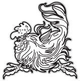 Black and White Image of Rooster. Royalty Free Stock Photos