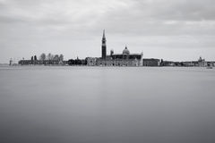 Black and white image of San Giorgio Maggiore Island Royalty Free Stock Images