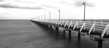 Black and white image of Shorncliffe Pier Stock Images