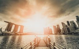 Black and white image of Singapore Skyline and view of skyscrapers on Marina Bay at sunset. royalty free stock photo