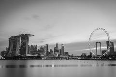 Black and white image of Singapore Skyline Stock Photography