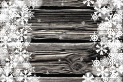 Black and white image of snowflakes borders with Royalty Free Stock Photography
