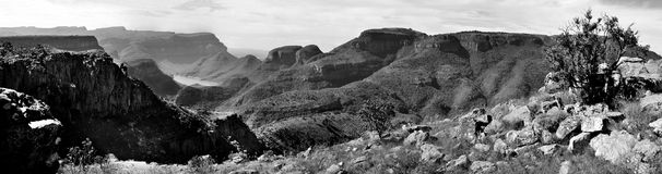 Blyde River Canyon, in  monochrome. A black and white image of the spectacular Blyde River Canyon in Mpumalanga, South Africa. Looking down from an elevated Royalty Free Stock Image