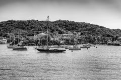 Black and White Image of St. Johns Bay. With various boats and coastline Royalty Free Stock Photography