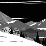 Black and white image of stylized mountains. With simple trees Vector Illustration