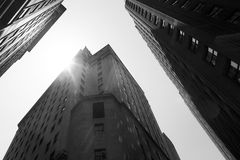 New York City. Black and white image of tall buildings on Wall Street, New York City, USA royalty free stock photos