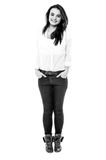 Black and white image of teen girl Royalty Free Stock Photography