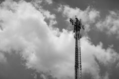 Black and white image, telephone antenna. royalty free stock photography