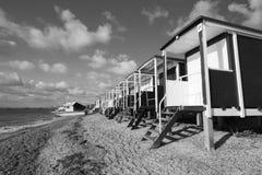 Black and white image of Thorpe Bay Beach, Essex, England Stock Image