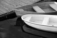 Black and white image of two rowboats Royalty Free Stock Photography