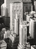 Black and white image of vintage skyscrapers in New York Stock Images