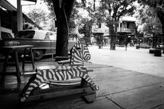 Black and white image on Vintage wood toys rocking horse chair c Royalty Free Stock Photo