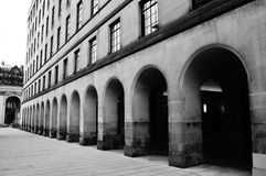 Manchester Central Library 2. Black and white image of a walkway outside Manchester`s Central Library Stock Image
