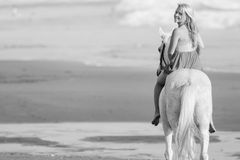 Black and white image young woman riding a horse Royalty Free Stock Photography