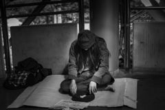 Black and white images of Beggar royalty free stock images