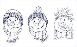 Black and white images of snowman's face Royalty Free Stock Photography