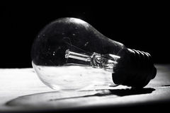 Black and white incandescent bulb Stock Photo