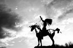 Silhouetted Indian Statue in Osoyoos, British Columbia, Canada stock image