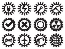 Black and White Industrial Gears Vector Icon Set Stock Image