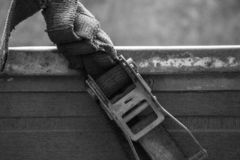 Black and white industrial strap is close. Up stock photography