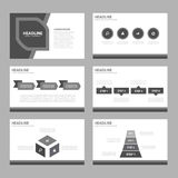 Black and white Infographic elements icon presentation template flat design set for advertising marketing brochure flyer. Black and white Multipurpose royalty free illustration