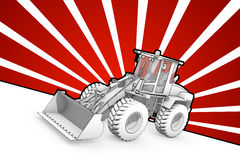 Black and white ink bulldozer pop art Royalty Free Stock Images