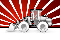 Black and white ink bulldozer pop art Stock Image