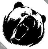 Black and white ink draw bear vector illustration vector illustration
