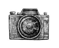 Black and white ink hand drawn camera Royalty Free Stock Images