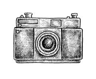 Black and white ink hand drawn camera Royalty Free Stock Photos