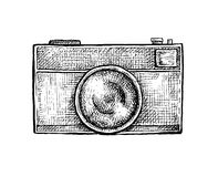 Black and white ink hand drawn camera Stock Images