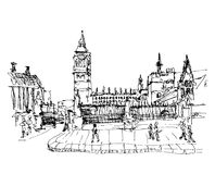 Black and white ink sketch drawing of famous place in London,  B. Ig Ben and Houses of Parliament or Clock Tower, Westminster, vector illustration Royalty Free Stock Photo