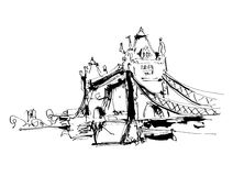 Black and white ink sketch drawing of famous place Tower Bridge Royalty Free Stock Photography