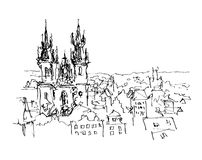 Black and white ink sketch line drawing of Prague old town top c Royalty Free Stock Image