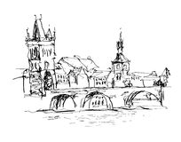 Black and white ink sketch line drawing of Prague old town top c Royalty Free Stock Images