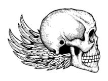 Black and white ink sketched human skull with wings isolated on white background royalty free illustration