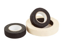 Black and white insulating tapes Stock Photo