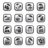 Black and white insurance, risk and business icons. Vector icon set Stock Photo