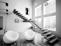 Black white interior 3d render Royalty Free Stock Photo