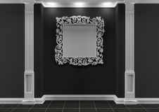 Black and white interior with decorative frame Stock Images